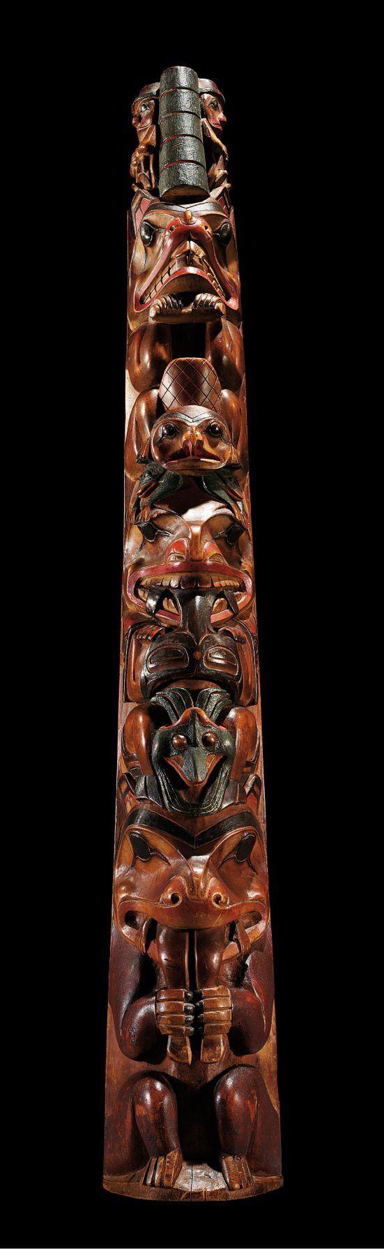 A Haida model totem pole, Northwest Coast