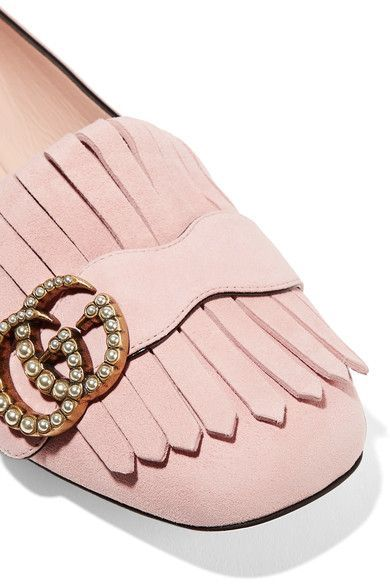 Gucci - Marmont Fringed Suede Loafers - Pastel pink - IT