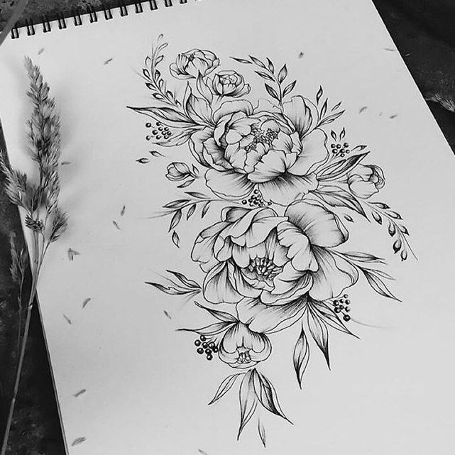 Peony Line Drawing Tattoo : Peonies tattoo drawing imgkid the image kid