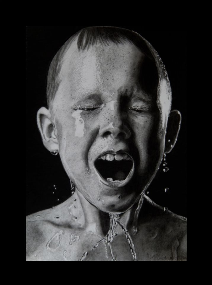 Ice bucket. Keith More hyperrealistic pencil drawing A3 size.