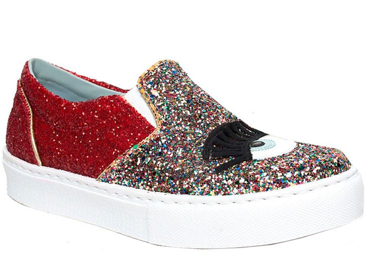 Chiara Ferragni slip-ons sneakers in Multi-Color Glitter - Italian Boutique €129