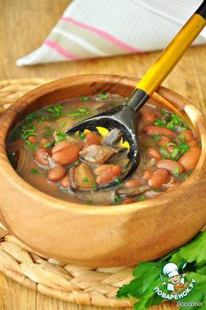 Тосканский грибной суп с фасолью.