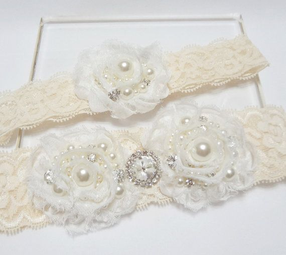 Wedding bridal garter set -  Pearls and Rhinestone with Off White Rose on Ivory Lace, Garter set, Ivory garter, Lace garter