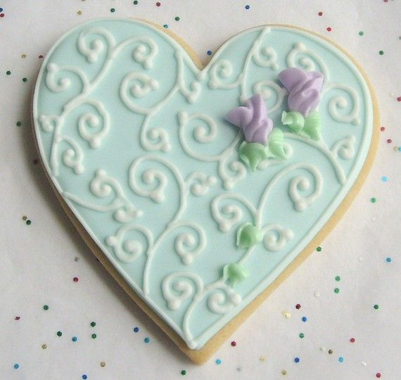 tiffany heart cookie favors heart wedding favors heart decorated cookie favors 400 ea
