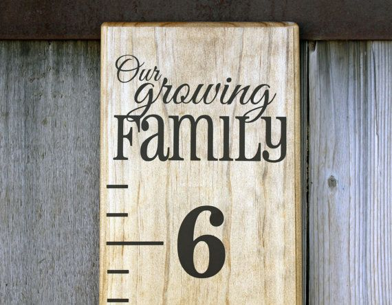 """Growth Chart Ruler Add-On--""""Our Growing Family"""" Decal--Top Header--New Baby Gift"""