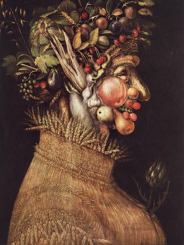 Summer - Artist: Giuseppe Arcimboldo Completion Date: 1563 Style: Mannerism (Late Renaissance) Series: The Seasons Genre: allegorical painting Technique: oil Material: canvas Dimensions: 67 x 51 cm Gallery: Kunsthistorisches Museum, Vienna, Austria