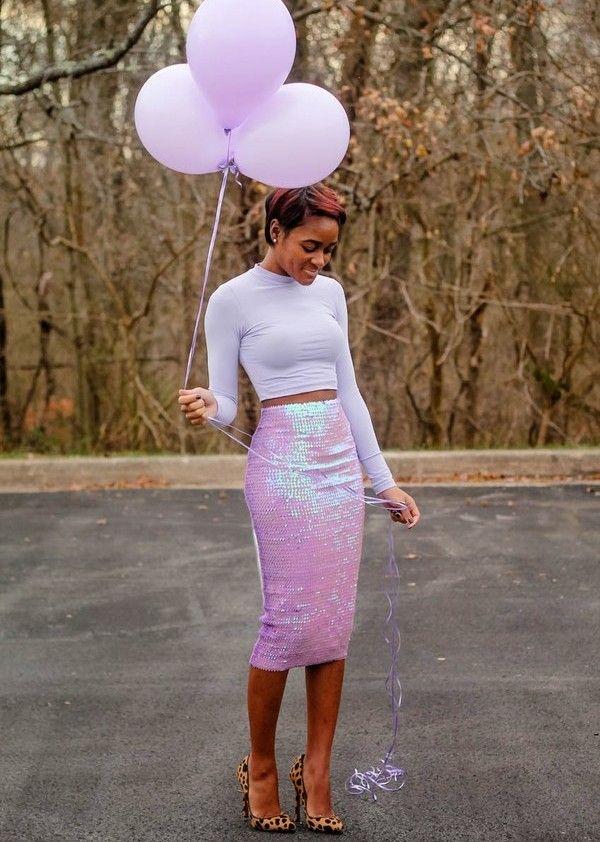 Блестящая юбка карандаш