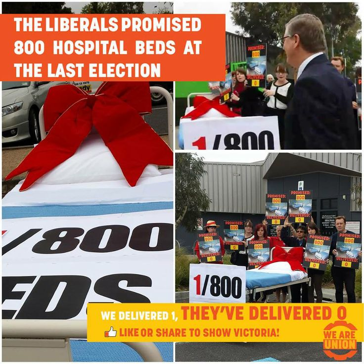 800 beds promised, 0 delivered. So ANMF nurses delivered one to the Premier!