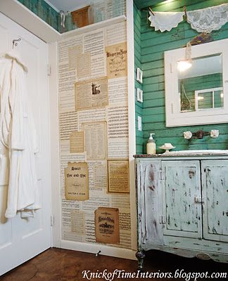 Really cool wall treatments in this rustic bathroom by knick of time funky junk party - Cool wall treatments ...