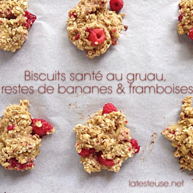 Biscuits (galette) santé au gruau, restes de bananes & framboises - La Testeuse