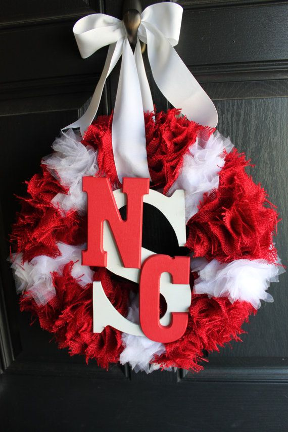 College Team themed burlap and tulle wreath ( red & white NC State Feautred) on Etsy, $45.00