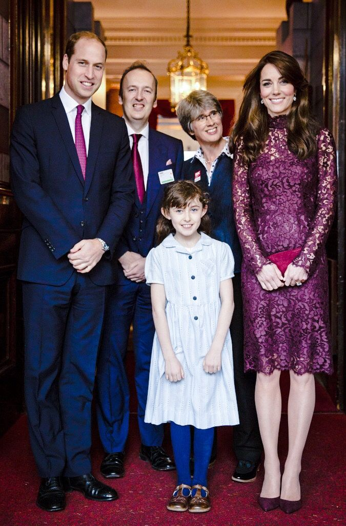"""The Duke and Duchess of Cambridge pose with a young actress who performed as Mathilda at a """"Creative Collaborations: UK & China"""" event at Lancaster House // October 21st 2015"""