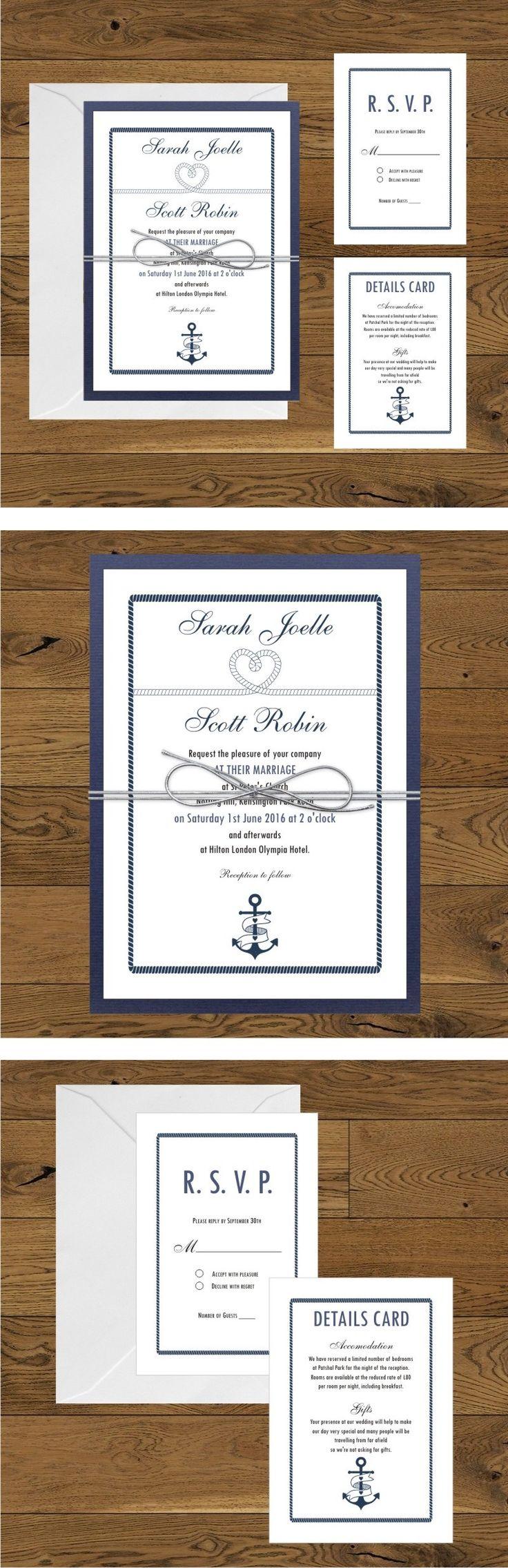 Nautical wedding invitations - navy blue and white