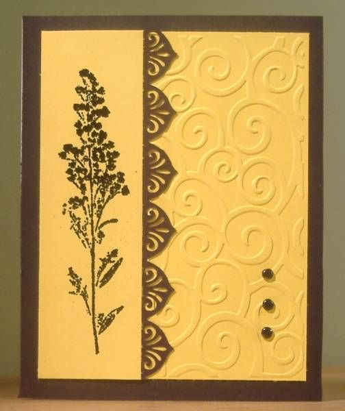handmade greeting card by Joyful Splitcoaststampers cleand and simple design ... golden yellow and brown ... swirls embossing folder texture ... smooth column with stamped meadwo flower ... luv the EK edge punched border ... like this card!!