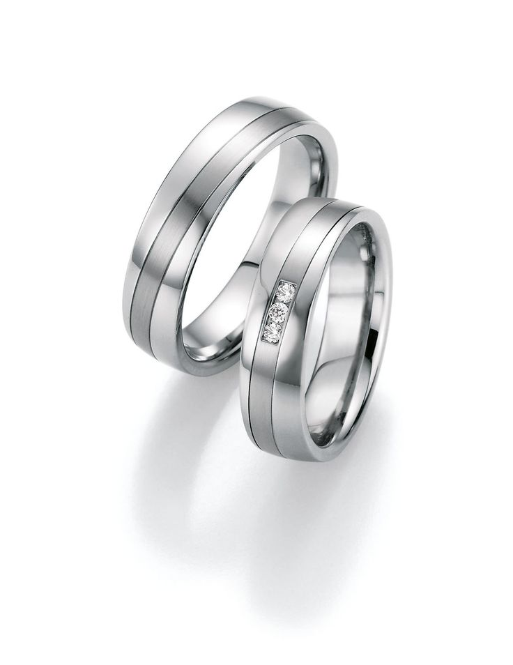 Stainless Steel Wedding Rings Diamonds 0.060 ct W/Si