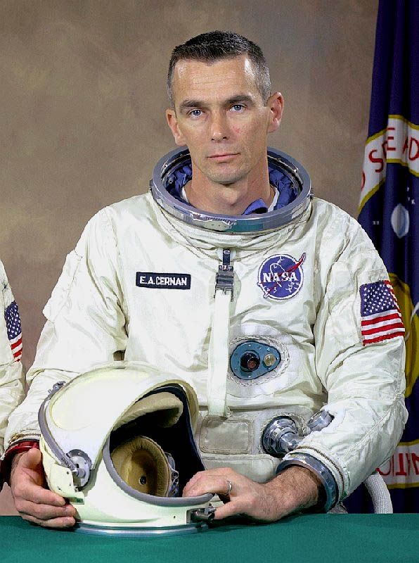 NASA Astronaut Gene Cernan turns 81 today. He was born 3-14 in 1934. He was the last man to walk on the moon on the final 1972 Apollo 17 moon landing. He's been to space 3 times as both pilot and commander.