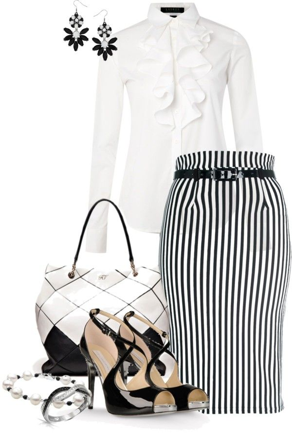 """black and white striped pencil skirt"" by meganpearl ❤ liked on Polyvore"