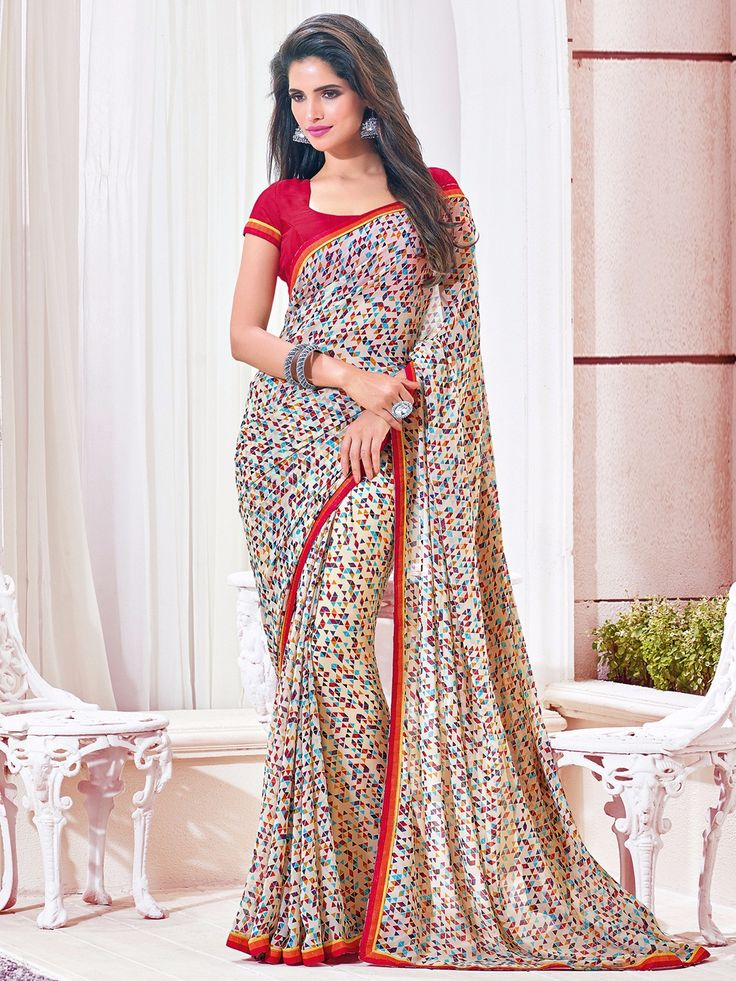 Printed Cream Georgette Saree