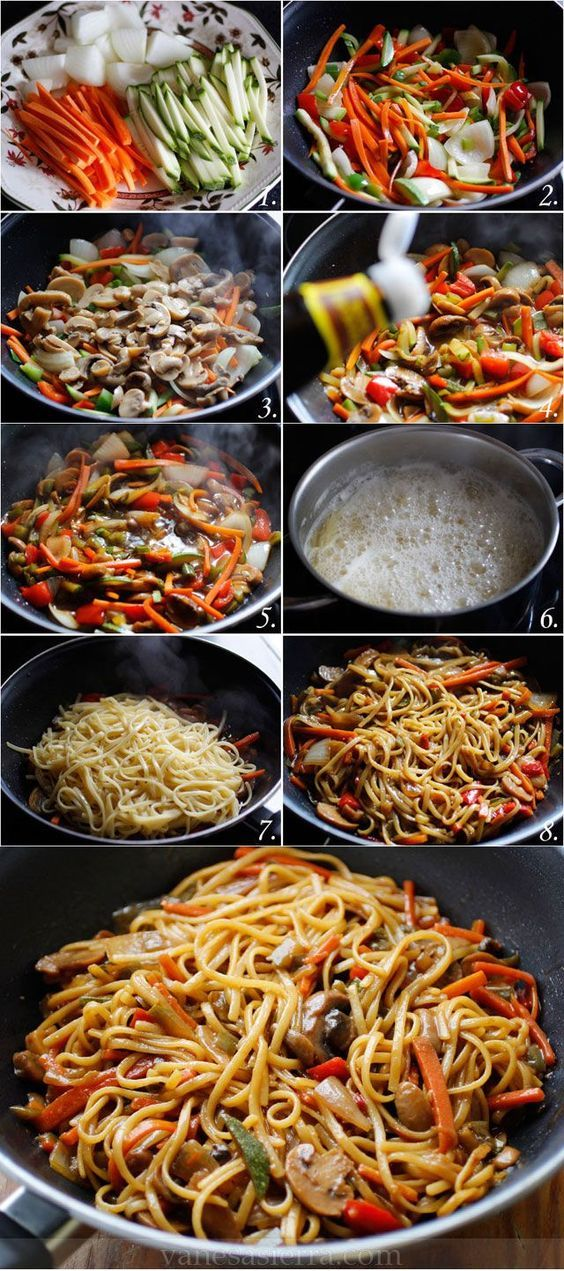 Tallarines con verduras, paso a paso (receta china):