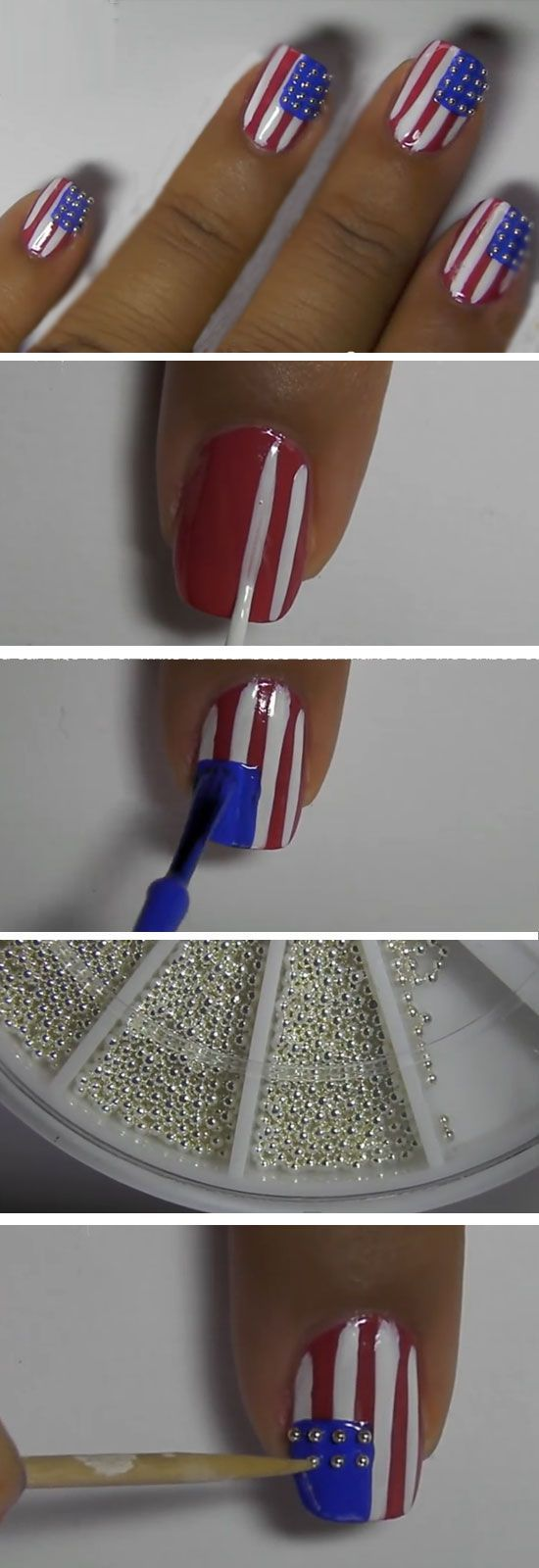 Stud Spangled Banner | Easy DIY 4th of July Nail Art Designs for Short Nails