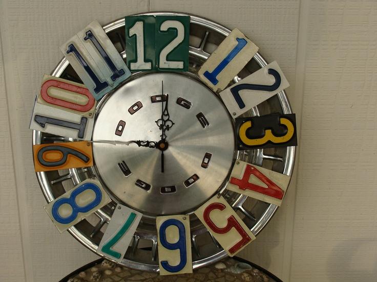 Vintage Dodge Hubcap and License Plate Clock