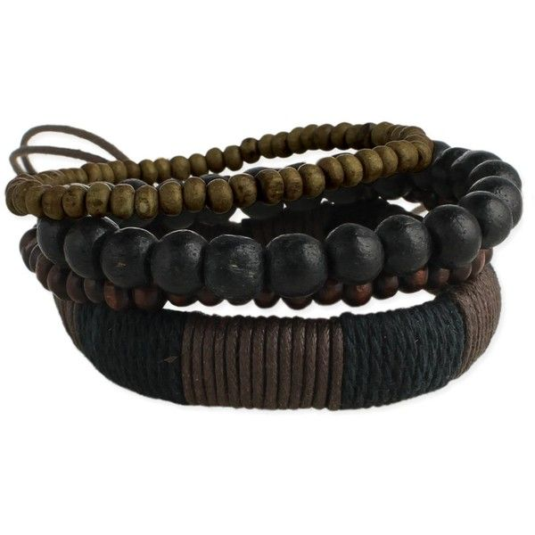 Set of 4 wood & cord wrap men's bracelet ($31) ❤ liked on Polyvore featuring men's fashion, men's jewelry, men's bracelets, mens cord bracelets, mens wooden bracelets, mens bracelets, mens leather wrap bracelets and mens watches jewelry