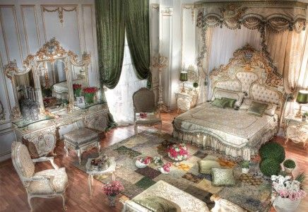 Royal Design Bed Room with Top Crown - Top and Best Classic Furniture and Classical interior Design Italian Companies