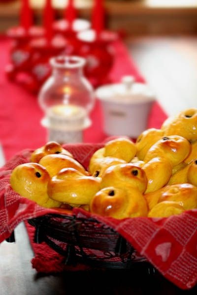 Freshly baked lussekatter (flavored with cardamom) are a must every year.