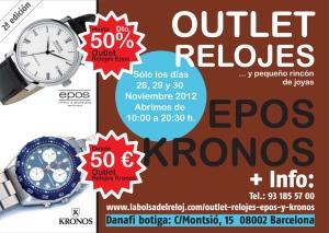 Diseño gráfico folleto para Outlet relojes Kronos y Epos en Barcelona.