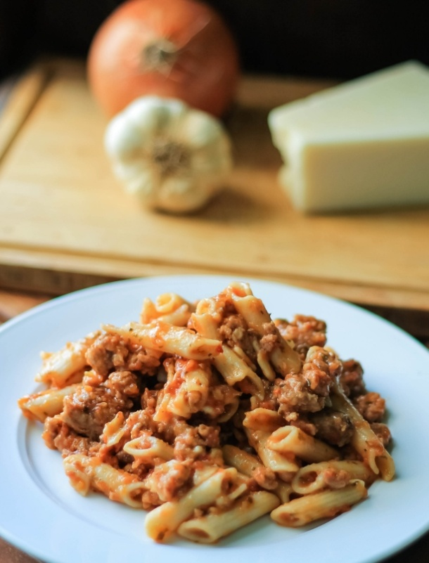 Delicious and tender rigatoni with calabrese style pork ragu.