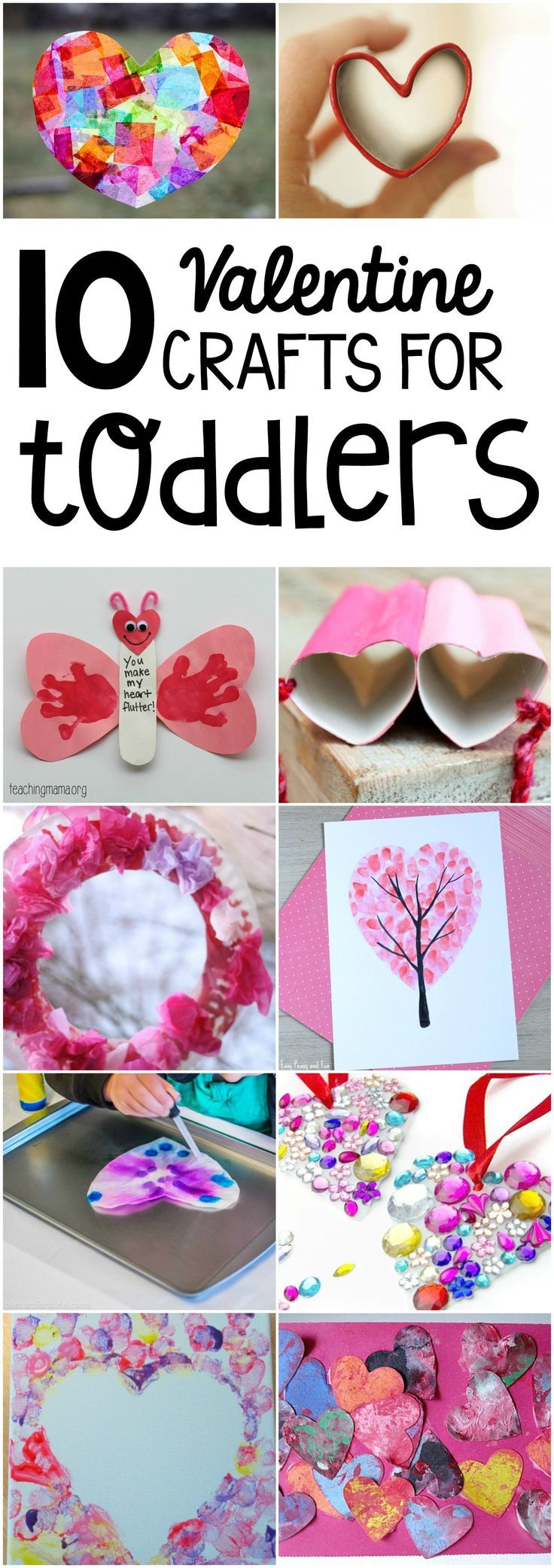 10 Valentine Crafts for toddlers! A roundup of gorgeous crafts and art for kids to do this winter around Valentine's Day! #ValentinesDay #toddlercrafts