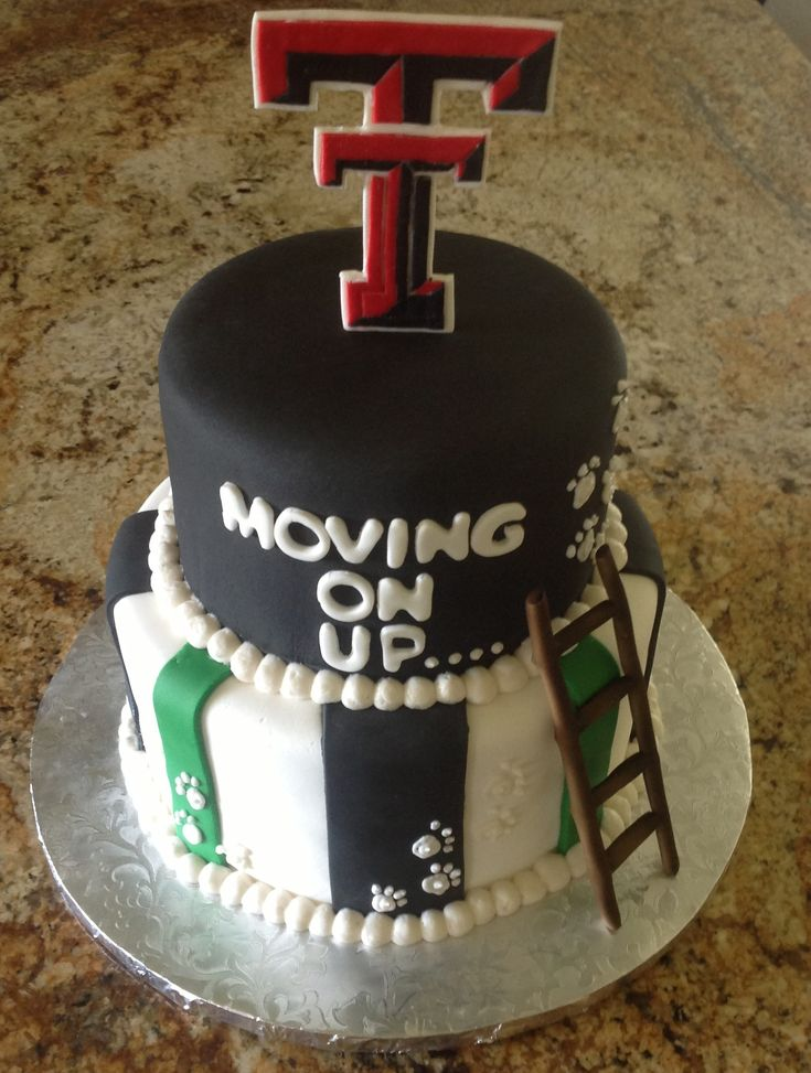 High School graduation cake......on his way to Texas Tech I like the idea of a cake like this...bottom layer in HS colors, top in the colors of college he picks!