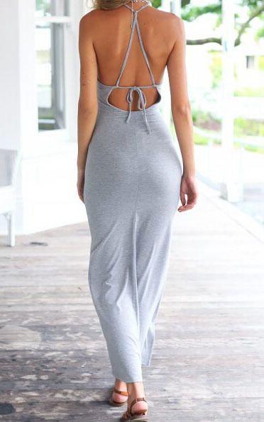 Women's fashion | Spaghetti strap backless grey maxi dress