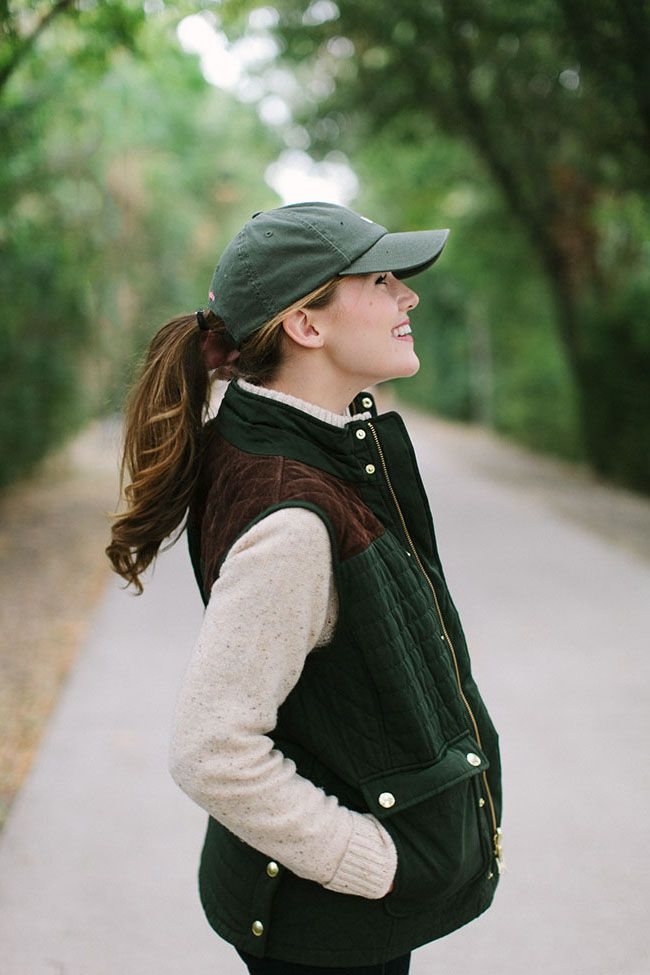 VEST   Vineyard Vines Quilted Vest   |   BUTTON DOWN   Pink Gingham Button Down   |   SWEATER   Cable Quarter Zip Sweater   |   HAT   Vineyard Vines Baseball Hat   |   BOOTS   Tan Suede Booties (old Tory Burch, similar linked)   |   JEANS   J.Crew Toothpick Jeans