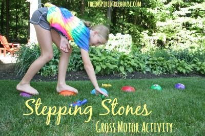 This simple toy is perfect for tackling all kinds of developmental skills – teaching balance and coordination while providing sensory feedback in the form of proprioceptive and auditory stimulation  #garden #gardening #steppingstones #balance #grossmotor #coordination #strength
