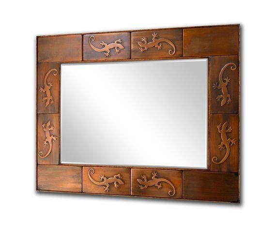 Copper mirror frame. Metal mirror frame, Metal accent frame. LIZARDS.