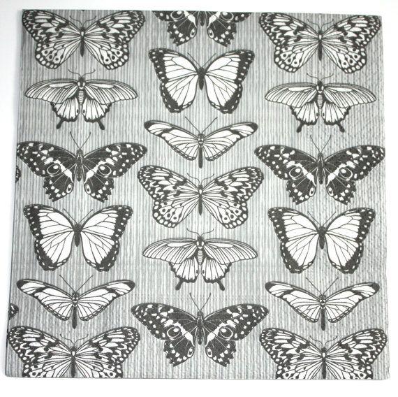 Decoupage napkin butterfly paper napkin black and by Napkintime