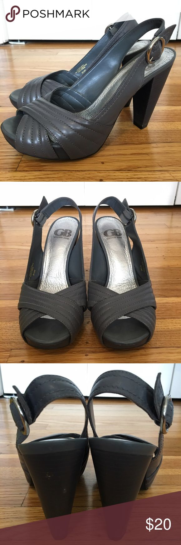 "gianni bini gray platform heels gianni bini spotlight heels in havana gray. 4.75"" stacked heel with 1"" platform. scratch on the left of back heel. Gianni Bini Shoes Heels"