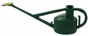 Bosmere V115 Green Haws 5-Liter Plastic Outdoor Long Reach Watering Can by Bosmere. $37.95. Well designed with two handles for balance and effortless watering. It comes with a plastic & brass oval rose and a plastic downspout. The traditional Haws high neck design stops water from coming out the top when the can is tipped forward. The Longreach watering can is made in green plastic. It is perfect for watering flower beds and vegetable gardens. Removable plastic-backed oval ...