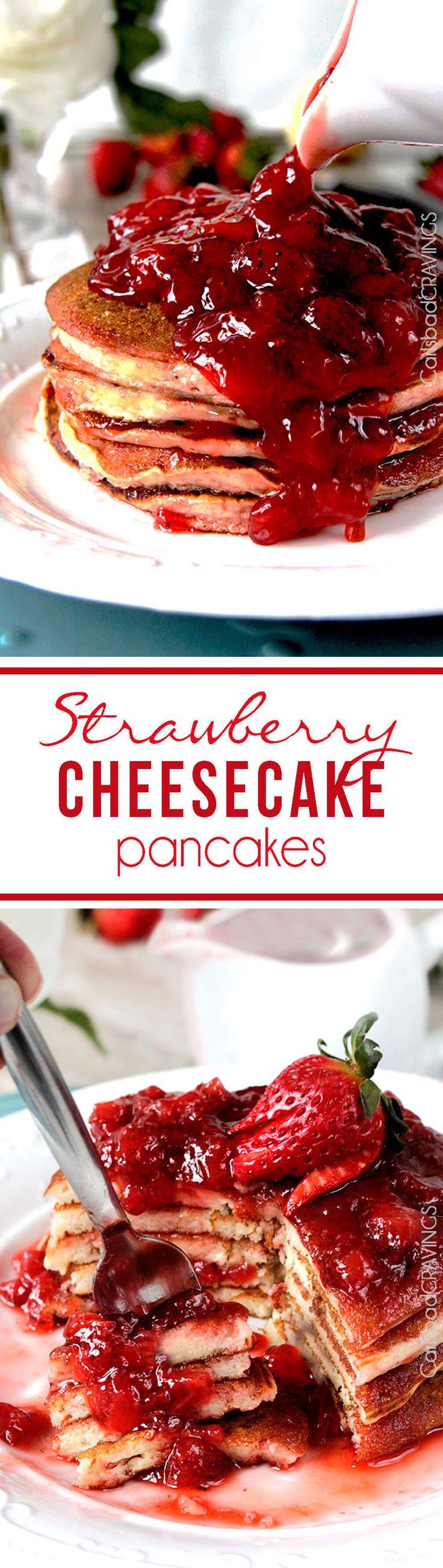Easy Strawberry Cheesecake Pancakes = cheesecake filling + pancake dry ingredients + fresh strawberry syrup = cheesecake for breakfast! #cheesecake #pancakes #strawberry #strawberrypancakes via @carlsbadcraving