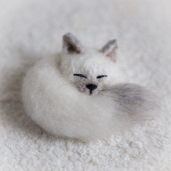 Gato broche lana Pin dormir kitty joyería Gato siamés peluche