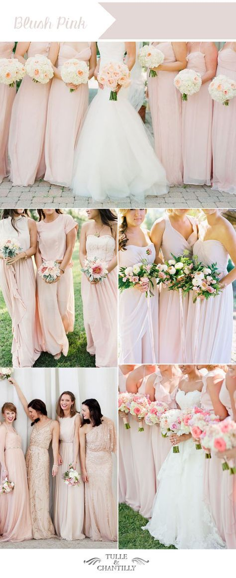 stunning blush pink summer wedding color ideas for bridesmaid dresses