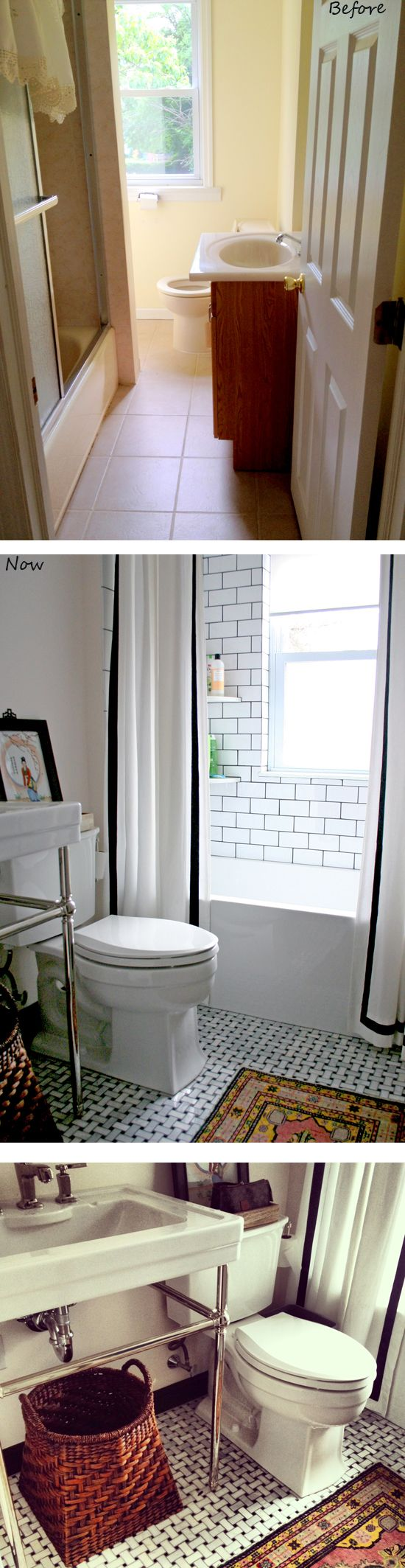 Shower drain furthermore stone look wall tile additionally modern - Love The Black Grout Double Shower Curtain White With Black Tape Trim Mosaic Marble Floor Tribal Rug In Bathroom By Design Manifest