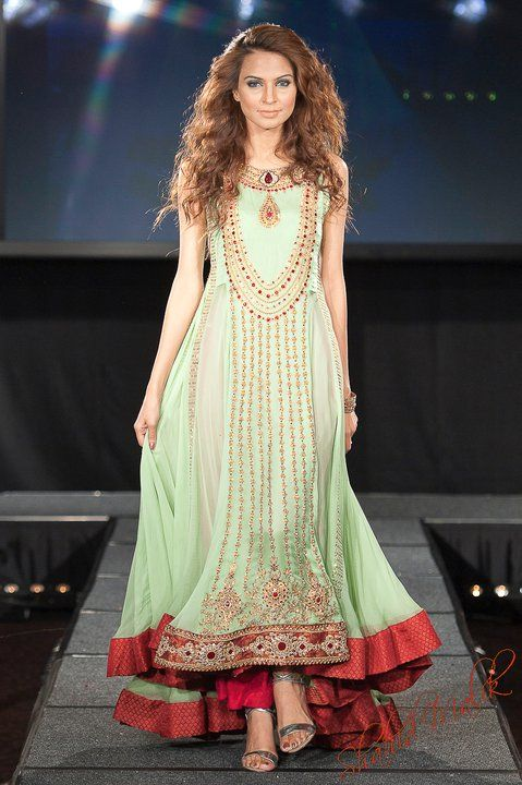 Mint Green and Red Desi Dress