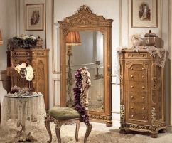 Комод высокий 3038 и Зеркало напольное 3039 Гостиная Old Classic Riva Mobili d'Arte Мебель в стилях директория, ампир ЭЛИТНЫЕ ГОСТИНЫЕ Комоды, тумбы под ТВ ЭЛИТНЫЕ СПАЛЬНИ