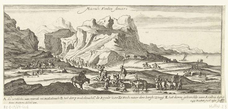 Gaspar Bouttats | Gezicht op de waterbron van Mara, Gaspar Bouttats, Jan Peeters (I), 1672 | Gezicht op de waterbron van Mabelouch. In de tijden van Mozes heette de waterbron Mara. Tijdens de Uittocht uit Egypte had Mozes door een mirakel deze waterbron zoet in plaats van bitter gemaakt (Exodus 15:22). Op de achtergrond rechts de Rode Zee en links de weg naar de berg Sinaï. Op de voorgrond een waterput waar een karavaan zich bevoorraadt. De prent heeft een Nederlands onderschrift met…
