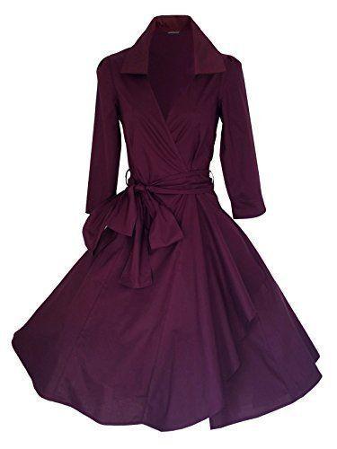 Damen Kleid Klassisch 50er Jahre Stil Rockabilly / Swing / Pin Up Baumwolle Umhang Abend Party EU 34-52: Amazon.de: Bekleidung