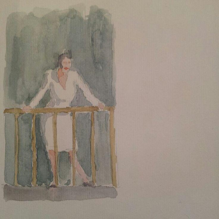 Lei che guarda.  She watching #watercolor #acquerello #acquerelli #watercolour
