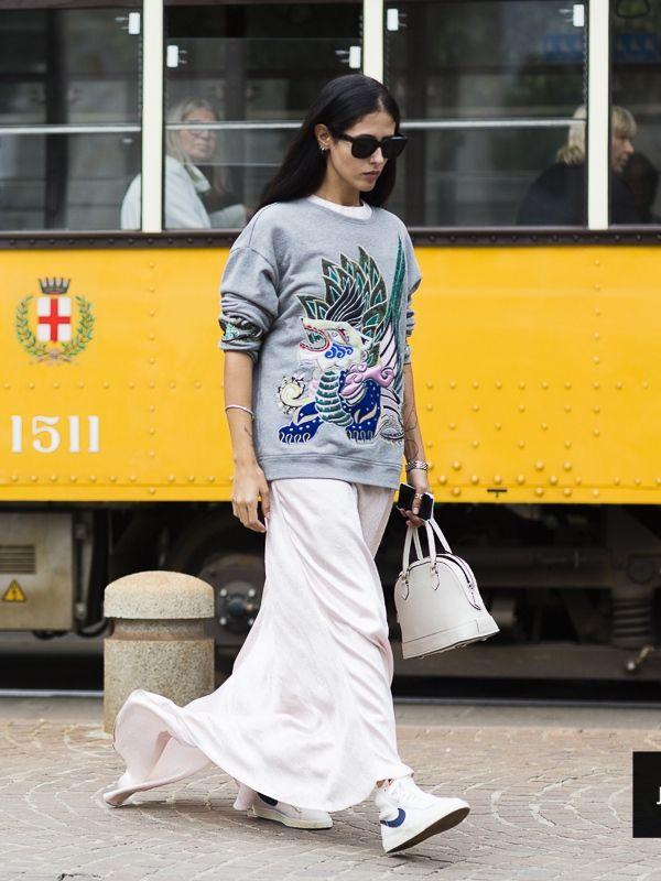 long skirt & embellished sweater. #GildaAmbrosio in Milan.