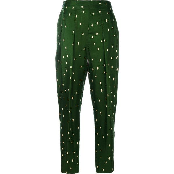 3.1 Phillip Lim polka dot tailored trousers found on Polyvore featuring pants, bottoms, pantalones, trousers, calça, green, tailored trousers, stretch waist pants, green pants and silk trousers